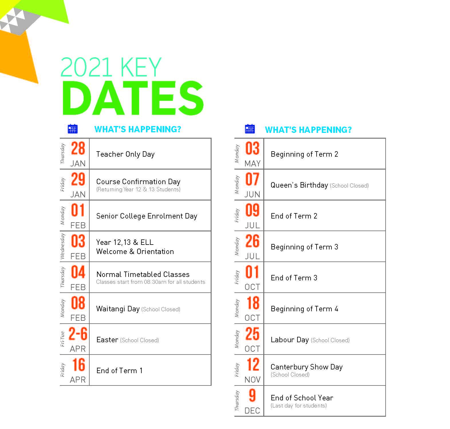 Key Dates for 2021 PDF